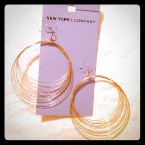 New York & Co. Gold Multi Hoop Dangle Earings